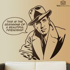 'Casablanca' es un película de 1942 que dejó una marca en la historia del cine. Una historia de amor rodeada de frases que han pasado a la posteridad. 'Louis, I think this is the beginning of a beautiful friendship.' es una de las frases que pronunca Rick Blaine, interpretado por Humphrey Bogart. Decora tu pared con uno de los clásicos del cine.