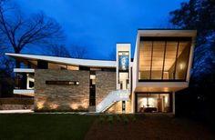 Cablik - Atlanta modern home - Argonne exterior dusk