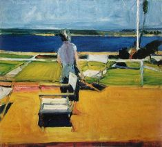 Richard Diebenkorn (1922 – 1993) was a well-known 20th century American painter who worked in California. His early work is associated with Abstract expressionism and the of the 1950s and 1960s. He became famous for his later work (best known as the Ocean Park paintings) which are entirely abstract works consisting of purely geometrical shapes.