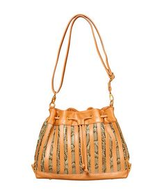 Take a look at this Sage Snake Drawstring Shoulder Bag by Elise Hope on #zulily today!