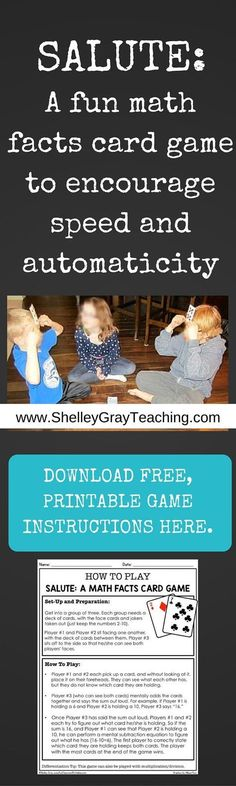 Salute is a fantastic card game to encourage speed and automaticity with basic math facts. This game works with addition/subtraction or multiplication/division. Click to get free printable game instructions. #mathtutor