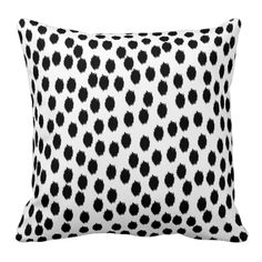 Black and White Scattered Ikat Dots Throw Pillow
