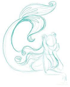 Bedazzled Mermaid // Ann Shen - Cartoon Videos Kids For 2019 Mermaid Sketch, Mermaid Drawings, Mermaid Drawing Tutorial, Mermaid Tail Drawing, Mermaid Pose, Mermaid Art, How To Draw Mermaid, Animal Sketches, Drawing Sketches