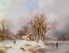 Remigius Adrianus van Haanen - Winterlandschap met mensen op een bevroren rivier