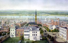 View of St. Louis levee and Illinois across the mississippi, crca 1850