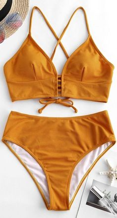 2019 Textured Crisscross High Cut Tankini Swimsuit, BEACH OUTFİTS, Style: Fashion Swimwear Type: Tankini Gender: For Women Material: Polyester,Spandex Bra Style: Padded Support Type: Wire Free Collar-line: Spaghetti S. Bathing Suits For Teens, Summer Bathing Suits, Cute Bathing Suits, Ruffled Bikini Top, Crochet Bikini Top, Cute Swimsuits, Women Swimsuits, Vintage Swimsuits, Haut Bikini