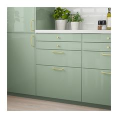 IKEA KALLARP drawer front Covered with high-gloss foil; gives an easy care finish. Blue Kitchen Interior, Kitchen Room Design, Green Kitchen, Kitchen Decor, Gloss Kitchen, Best Ikea, Affordable Furniture, Drawer Fronts, Home Office Design