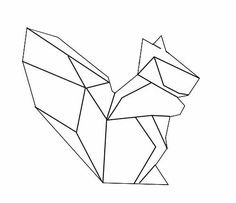 Geometric Animal Art Squirrel Tattoo Origami Animals Geometrisches Tier Tape Wall Nail String Sharpies Low Poly