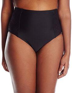 Beach Couture Women s Plus Size High Waist Bikini Bottom with Crochet Side  Insets 6f31e27be13e2
