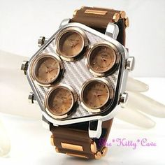 Brown Rose Gold, SIlver Mens 5 Zone Multi Dial World Time Hip Hop Gangster Watch