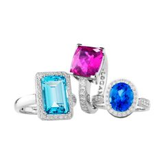 Jan Logan coloured stone and diamond rings