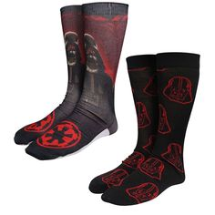 This of Darth Vader socks features one pair adorned with a sharp image of Darth Vader, and another adorned with several floating Vader craniums. Emperor Palpatine, Star Wars Merchandise, Sith Lord, Jedi Knight, Death Star, Crew Socks, Rubber Rain Boots, Geek Stuff, Darth Vader