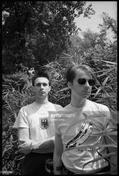 Richard H Kirk (right) and Stephen Mallinder, of British industrial band Cabaret Voltaire, in Holland Park, London, 8th June 1982.