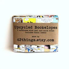 Handmade Upcycled Book Envelopes comic envelopes bookelopes (6) with labels. $8.00, via Etsy.