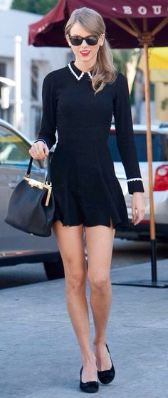 Taylor Swift Style. Vintage Dress. http://thereformation.com/JAM-DRESS-BLACK.html