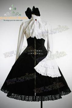 Gothic Lolita Steampunk High Waist Boned Heavy Skirt Bow $85