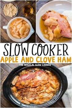 Easy way to make ham in the slow cooker! An entire ham topped with apple pie filling and cloves. Spiral ham slow cooked with apple pie filling and cloves Slow Cooker Ham Recipes, Slow Cooker Apples, Crockpot Dishes, Slow Cooker Pork, Pork Recipes, Crockpot Recipes, Cooking Recipes, Amish Recipes, Cooking