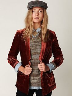 Cranberry Velvet Blazer...fall in a jacket basically...I love that mine is custom vintage