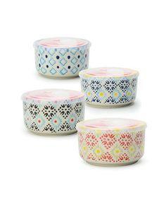 Look at this #zulilyfind! Blue & Pink Floral Storage Bowl - Set of Four #zulilyfinds