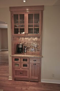 Replace existing dining room bar closet with a combined coffee station/bar, matching the kitchen cabinets. This is genius. Plus we could plumb in a small bar sink since the water lines are in the wall already for the tub in the bathroom! Kitchen Redo, Kitchen Remodel, Kitchen Cabinets, Bar Cabinets, Upper Cabinets, White Cabinets, Coffee Nook, Coffee Corner, Coffee Bars