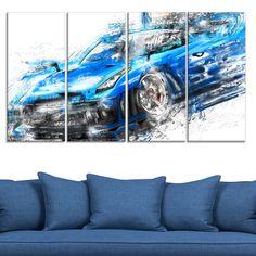 <li>Artist: Unknown</li> <li>Title: Burning Rubber Blue Super Car- 48x24</li> <li>Product type: Gallery Wrapped Canvas</li>