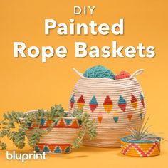 Hey DIY-ers, this basket is a fun and easy summer project. Make it in a day, customize it with paint, then use it to store all that yarn you've got just waiting for you to make something else. Rope Crafts, Diy Home Crafts, Easy Crafts, Crafts For Kids, Diy Arts And Crafts, Easy Diy Room Decor, Diy Decoration, Room Decorations, Art Diy