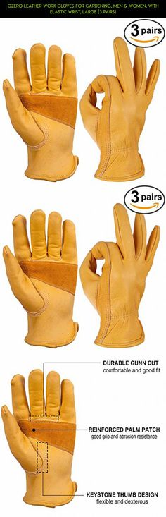 OZERO Leather Work Gloves for Gardening, Men & Women, with Elastic Wrist, Large (3 Pairs) #gardening #technology #men #fpv #camera #racing #gadgets #drone #shopping #tech #kit #gloves #plans #products #parts