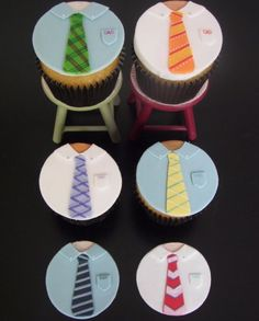 tie cupcake toppers for Father's Day