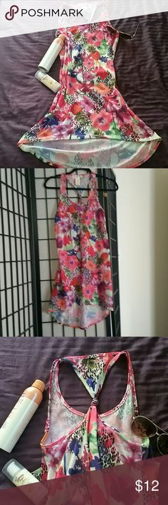 CLEARING out closet swim coverup Super cute high low tropical swim cover up. Only worn once. In good condition. Twisted knot back straps OP Swim Coverups