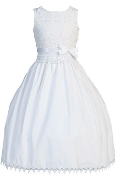 3 Dimensional Flowers, Lace & Embroidery White Poly Cotton First Holy Communion Dress (Girls Sizes 5 to 12)