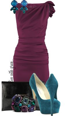 """plum & teal"" by livewithgrace on Polyvore"