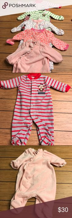 ☀️BOGO!!! ☀️🍼 Lot of 5 baby pajamas (newborn) 🍼 Adorable lot of basically brand new pajamas. 5 total - so cute, soft and perfect for any little one! Monkey business grey and red stripe is fleece material, light pink with flower ruffle edge is terry type material 🍼🍼🍼 Pajamas Nightgowns