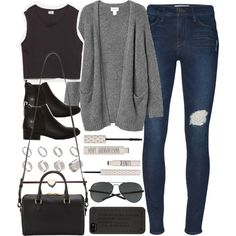 A fashion look from December 2014 featuring grey knit cardigan, skinny fit jeans and round toe boots. Browse and shop related looks.