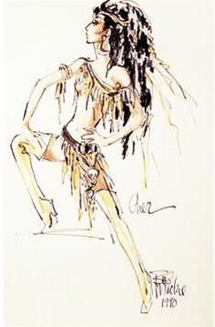 """A felt pen on paper costume design sketch of Cher in a yellow and tan fringed outfit and headpiece, signed """"Bob Mackie Mackie has also indicated that the sketch is of Cher. The design was presented to Cher for approval, but the costume was never produced. Fashion Model Sketch, Fashion Sketches, Fashion Models, Cher Costume, Costume Design Sketch, Sweet Pic, Dress Sketches, Bob Mackie, Black And White Pictures"""