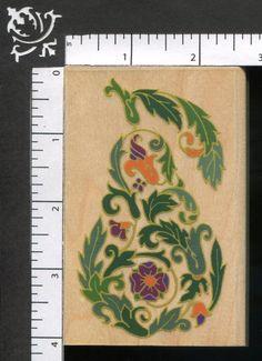 Rubber Stampede Ornate Pair Flowers Leaves Fancy Fruit WM Rubber Stamp #RubberStampede