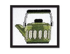 Retro Olive Teapot Cross Stitch Pattern Instant от tinymodernist, $6.00