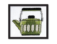 SALE Set of 4 Retro Teapots Cross Stitch Pattern by tinymodernist