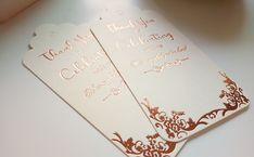 for bridal shower favors, baby shower, wedding favors, rose gold foil writing on white tags Bridal Shower Favors, Wedding Favors, Thank You Tags For Favors, Key Bottle Opener, Rose Gold Foil, Unique Lighting, Foil Stamping, Fascinator, Packaging