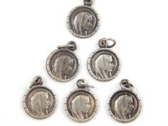 Vintage Virgin Mary - Our Lady of Lourdes Catholic Medal Lot of 6 - Silver Religious Charms by LuxMeaChristus