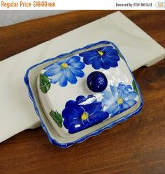 Sale Vintage Butter Dish, Ceramic Butter Dish, Blue Flowered Dish, Covered Dish, Cheese Plate, Painted Butter Dish,  Vintage Kitchen, Blue W