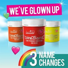 Directions have renamed 3 of their colours: Fire is now Neon Red Mandarin is now Fluorescent Orange Fluo Glow is now Fluorescent Yellow These Fluorescent colours are also UV reactive Hair Color Names, Directions Hair Dye, Fluorescent Colors, Name Change, Alternative Hair, Dyed Hair, Glow, Fire, Colours