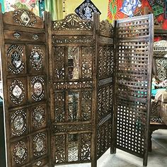 Antique Room Divider Screen Panel Floral Hand Carved Four Panel Solid Wood Indian Furniture Mogul Interior http://www.amazon.com/dp/B00ZZG2188/ref=cm_sw_r_pi_dp_WpvHvb1NBFFGQ