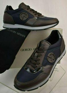 90695acf87a (eBay Sponsored) NIB GIORGIO ARMANI BROWN BLUE TEXTURED LEATHER LACE UP  LOGO SNEAKERS 10