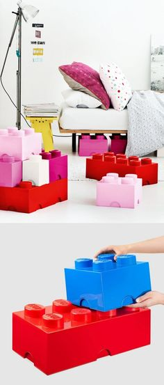 Stackable LEGO storage boxes - so cute!