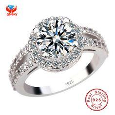 Promotion Luxury 925 Silver Engagement Ring With S925 Stamp 3 Carat CZ Diamond Wedding Rings For Women Size 4 5 6 7 8 9 10 YH091 www.bernysjewels.com #bernysjewels #jewels #jewelry #nice #bags