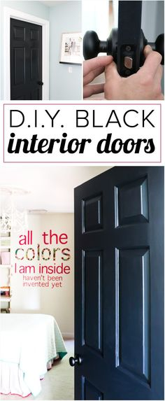 DIY home decor projects : Love the idea of black interior doors for an affordable interior update! All you have to do is paint your doors black and update the hardware. -Read More – Painted Interior Doors, Black Interior Doors, House Paint Interior, Black Doors, Interior Design, Luxury Interior, Pastel Interior, Natural Interior, Interior Livingroom