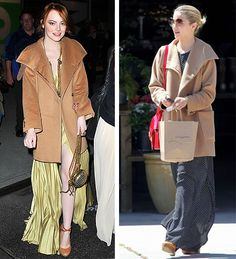 Style Showdown: Emma Stone vs. Dianna Agron in the same MaxMara coat.  Who wore it better?! Click to vote.