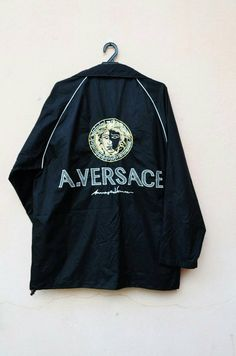 5952e748bdad Items similar to Versace Windbreaker Jacket Versace Logo Versace Gold Large  Size on Etsy