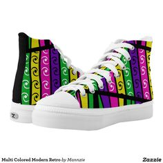 Find brilliant men's sneakers from Zazzle. Whether you like high tops or low top sneakers we have the pair for you. Printed Shoes, Modern Retro, Designer Shoes, High Tops, Athletic Shoes, High Top Sneakers, Pairs, Fashion, Tennis