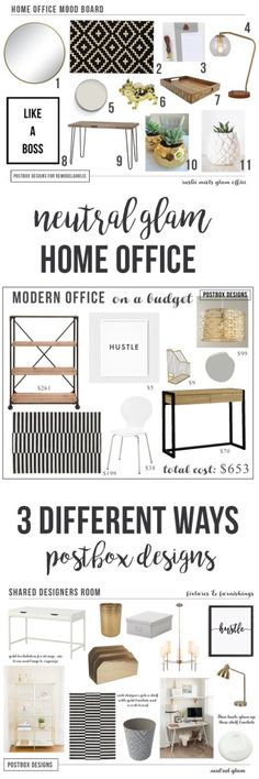 Create a Home Office: 3 Different Ways! Mood Boards by Postbox Designs E-Design, Ikea hack, Target
